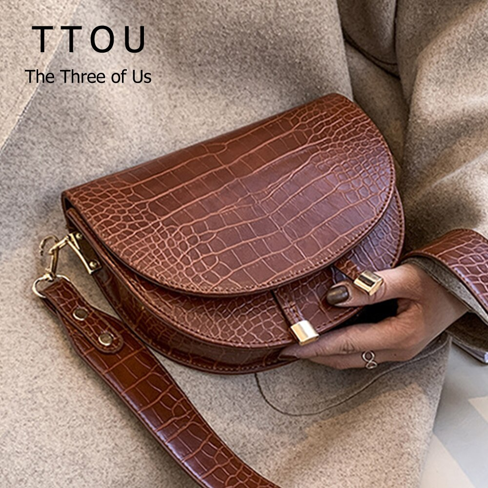 Famous Design Pu Leather Women Crossbody Bags Shopping Street Female Handbags Crocodile Semicircle Luxury Purse Shoulder Bags