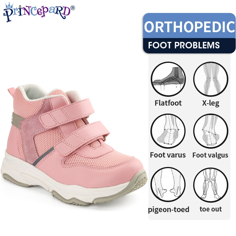 Princepard Kids Orthopedic Sneakers Shoes with Arch Support Fat Foot Insoles Autumn Spring Boys Girls Sport Running Casual Shoes