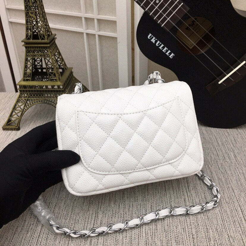 2021 Leather High-End Custom High-Quality Classic Flip Bag Rhombus Chain Small Fragrant Leather Caviar Crossbody Shoulder Bag