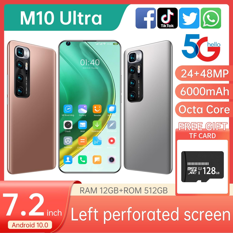 2021 M10 الترا جديد وصول 6000mAh الهاتف المحمول 7.2 بوصة كاميرا مزدوجة هاتف ذكي 12GB + 512GB Andriod الهاتف الذكي سناب دراجون 865