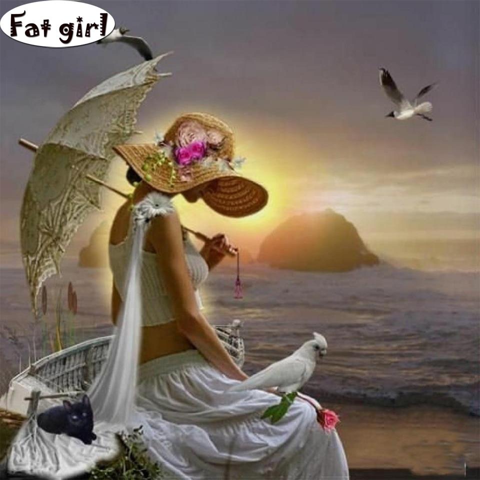 Pintura de diamantes hermosa chica de la playa paraguas de sujeción, gaviota gato cuadrado punto de cruz bordado mosaico producto hecho a mano