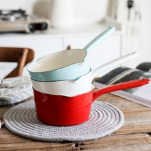 Candy-colored Japanese-style Enamel Milk Pot Home Kitchen Tableware Single Handle Pot Soup Pot Induction Cooker Universal