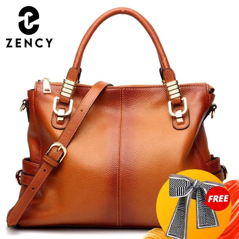 زنسي 100% جلد طبيعي التدرج رذاذ حقيبة يد واسعة للسيدات ريترو براون سعة كبيرة حقائب كتف سيدة عالية الجودة حقيبة كبيرة