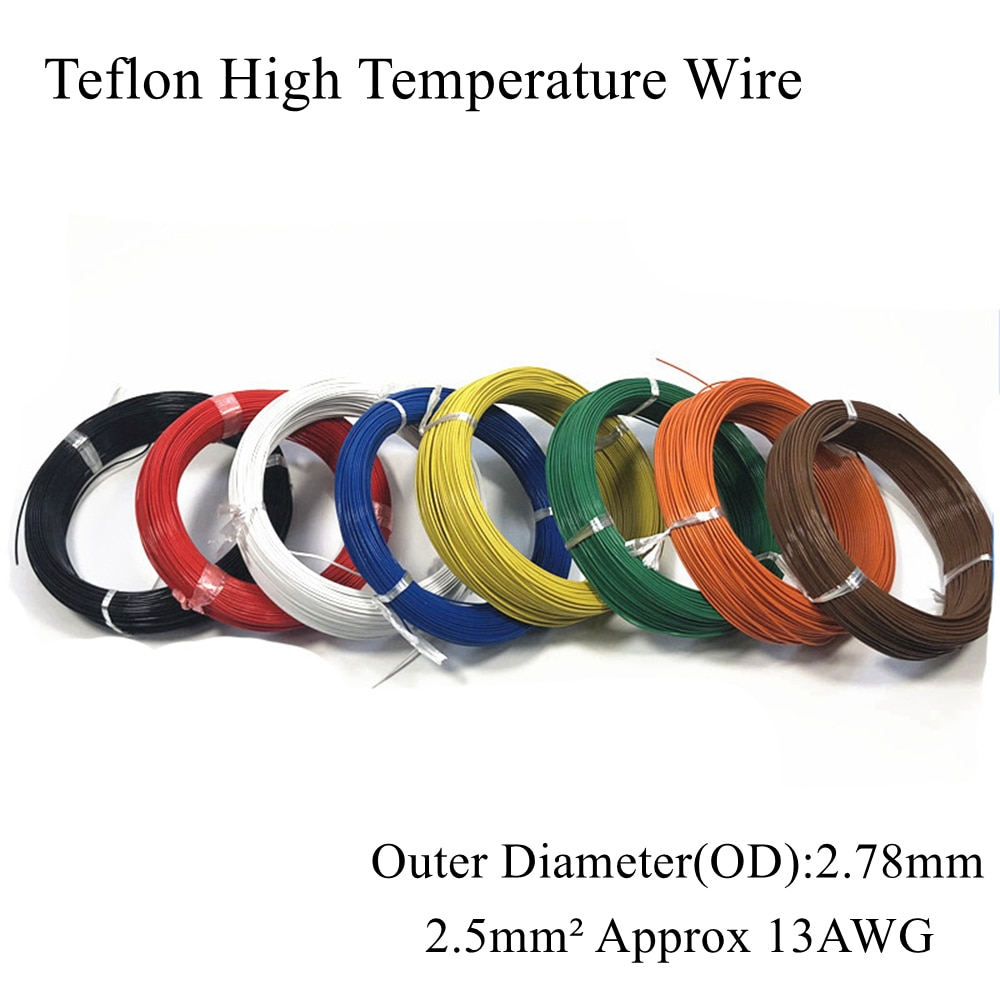 13AWG, 2,5mm, alambre cuadrado de alta temperatura, Cable eléctrico estañado de estaño plateado de cobre, cables aislados PTFE, 2.5mm ² 2.5mm2