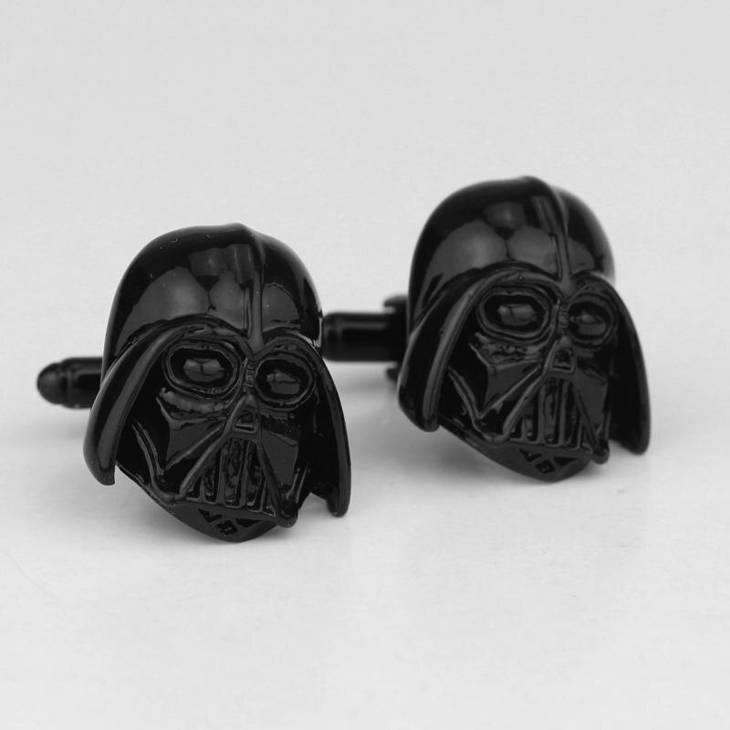 Star wars manguito links preto chapeado gravável darth vader star wars abotoaduras fecho para homens camisa botões de manguito