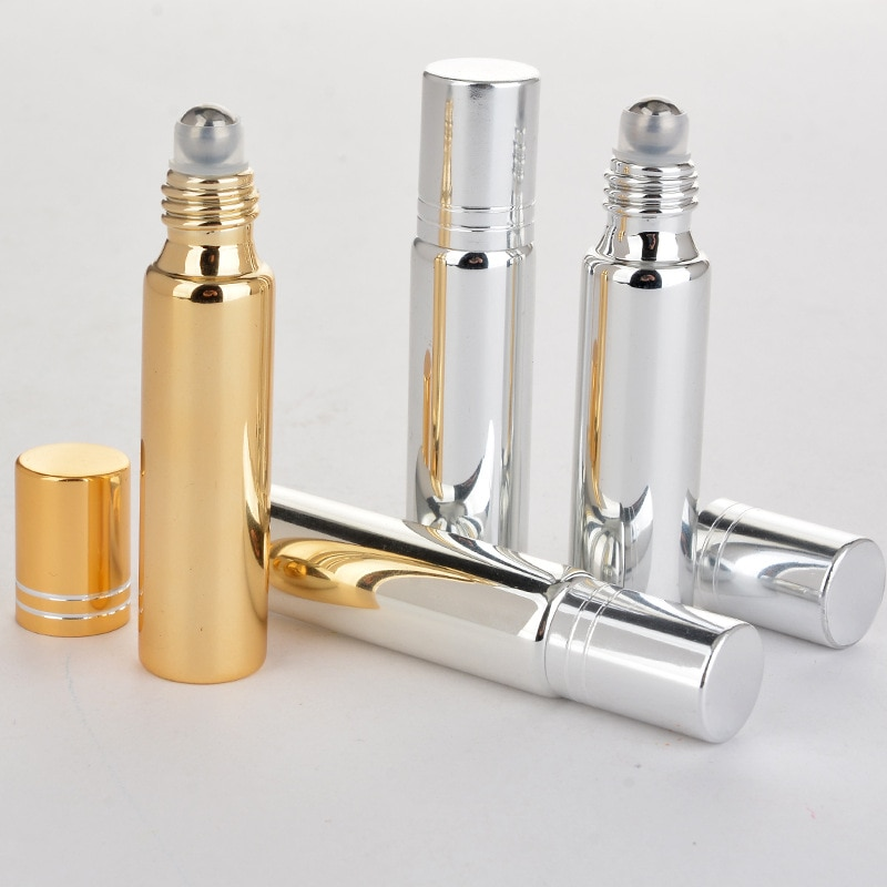 Essential Oil Bottles 5ml/10ml Roll on Stainless Steel Roller Ball Massager Eye Cream Perfume Refillable Empty Bottle Container