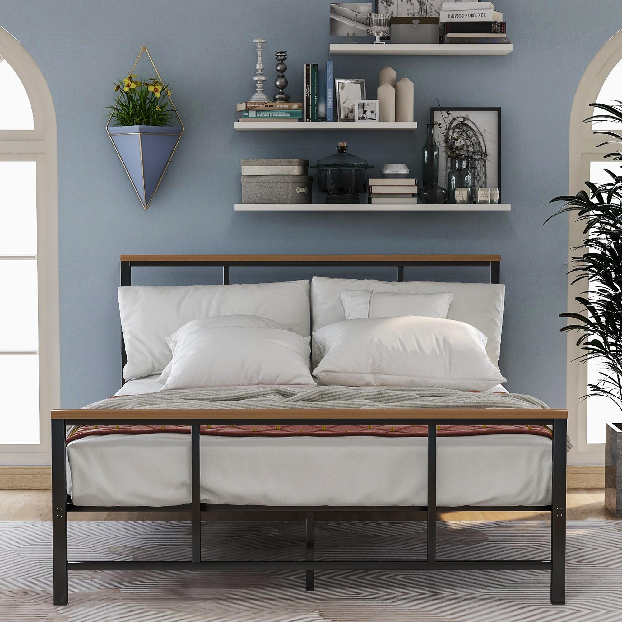 الطراز الحديث أثاث غرفة نوم بسيطة زخرفة المعادن سرير خشبي