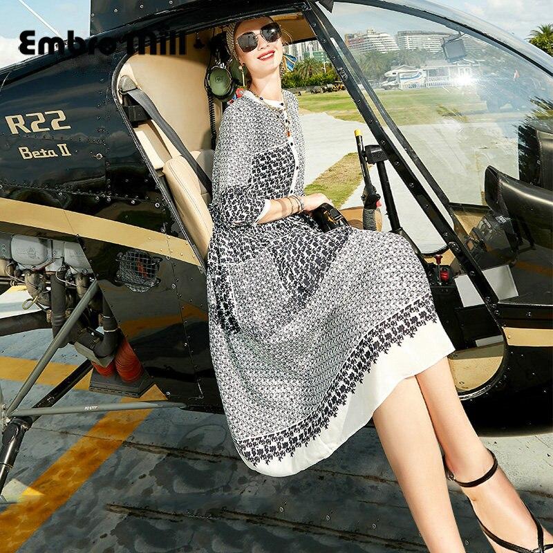 صيف جديد الشارع نمط التوت الحرير طباعة منتصف طول فضفاض ثلاثة أرباع كم الرباط الخصر فستان M-XXL