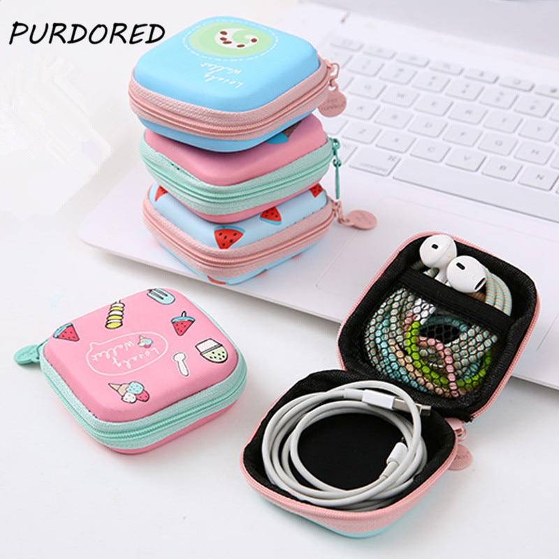 PURDORED-Mini bolsa organizadora de auriculares portátil con dibujos animados, bolsa de embalaje...