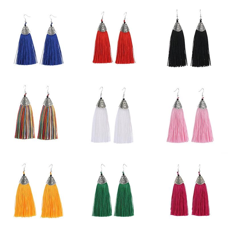 Женские богемные серьги с бахромой, Длинные многоцветные серьги в стиле ретро с рыбьим клювом, для танцев, международная торговля