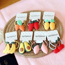 Cartoon Fruit Baby Headband Elastic Cute Kids Hair Rope Girls Baby Hair Rope Cherry Carrot Ponytail Scarf Hair Accessories