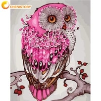 chenistory pink owl oil paintings by number animal drawing adult kit on canvas with frame acrylic handpainted paint home decor