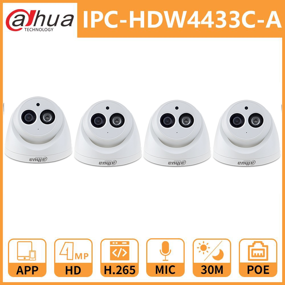 Dahua 4MP DH IPC-HDW4433C-A Network IP Camera Onvif Built-in MIC With POE replace IPC-HDW4431C-A Home Security camera dahua ip camera ipc hdw4433c a 4mp network ip camera onvif built in mic poe 4433c a 4431c a home security cctv h 265 ipc camera