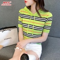 2021 summer new short sleeve t shirt drawstring hooded striped embroidered ice silk sweater women