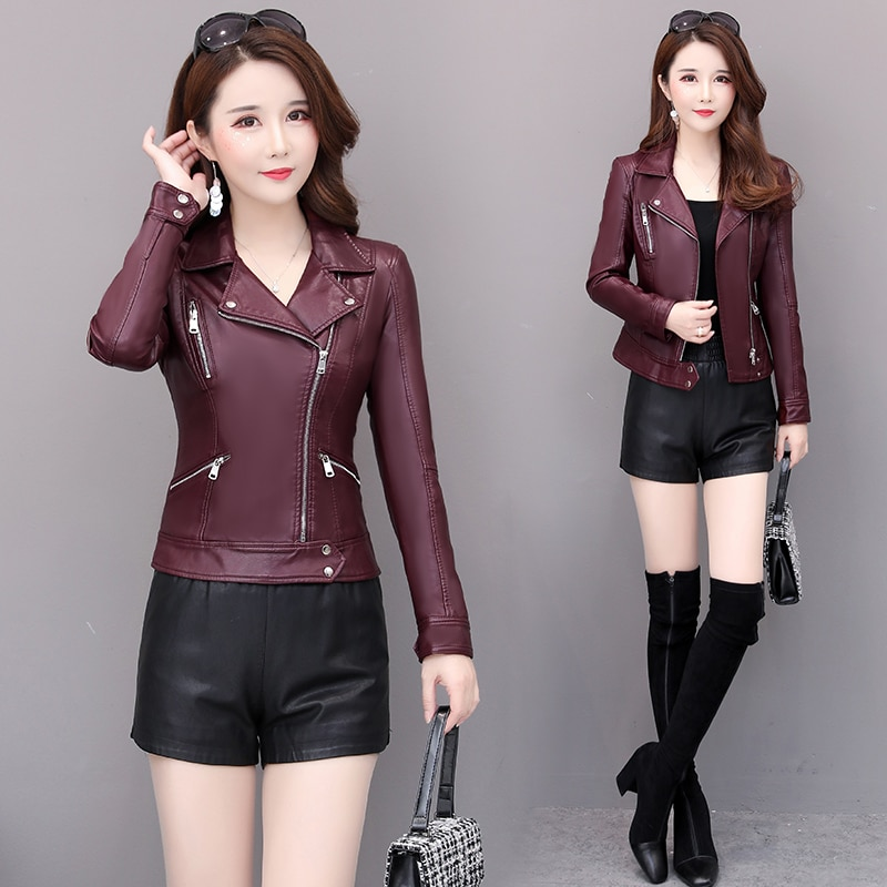 Spring jacket ladies Pu leather jacket short autumn zipper coat locomotive leather small suit faux leather slim black fashion jielur autumn winter leather jacket women black zipper short coat slim korean pu kpop leather clothing mujer coat 2019 new s xl