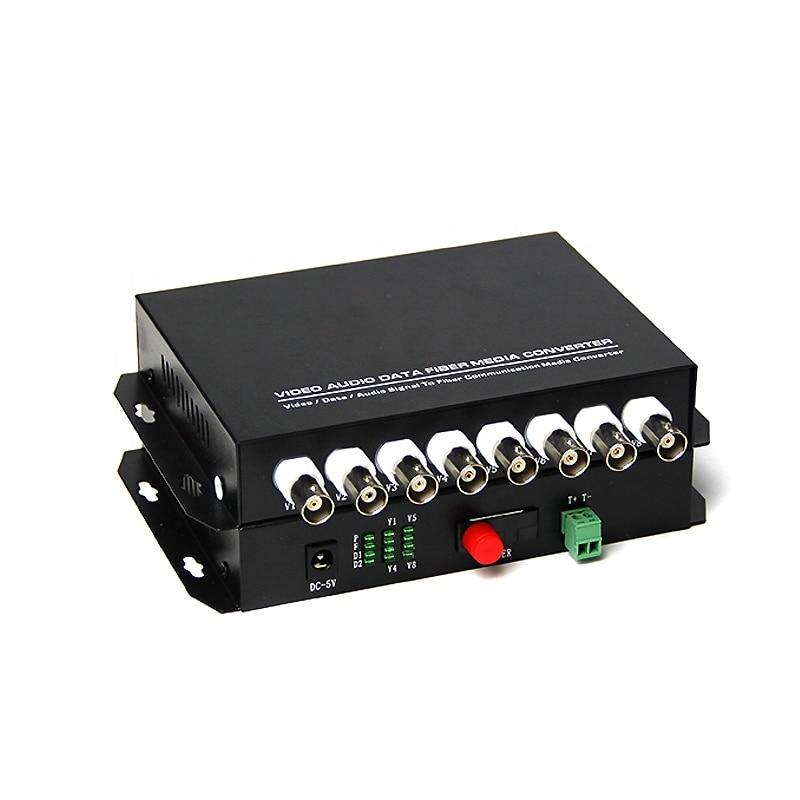 One Pair Single Mode Single Fiber 20km Distance 1 Reverse R485 Data 8 Channel Fiber Optical Video Converter For PTZ Cameras enlarge