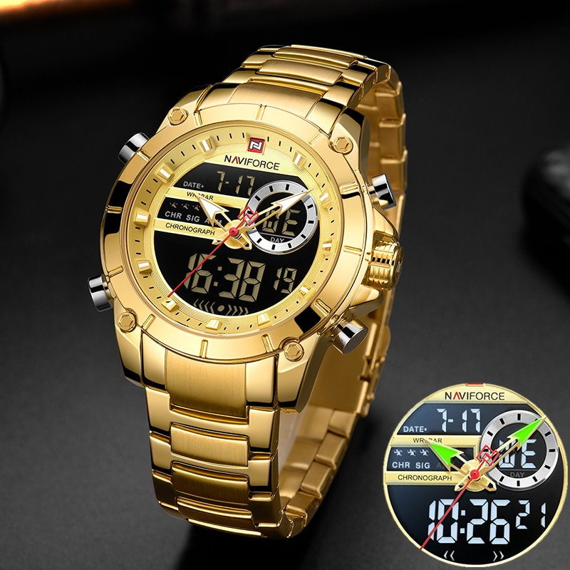 NAVIFORCE Men Military Sport Wrist Watch Gold Quartz Steel Waterproof Dual Display Male Clock Watche