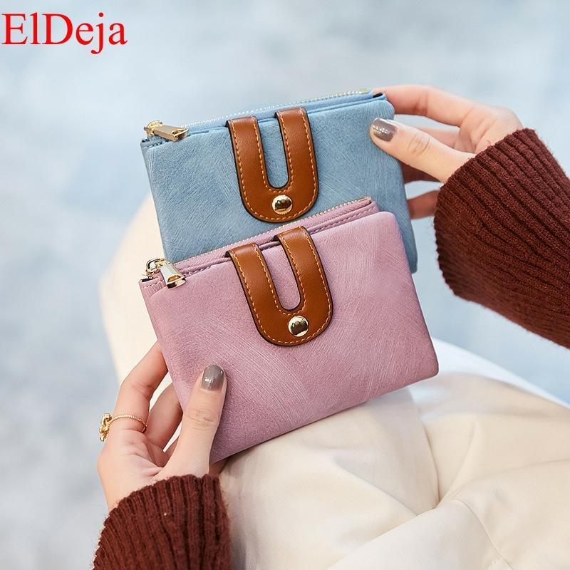 Women Wallet Short Purse Wallets Ladies Carteira Feminina Korean Chain Zipper Solid Carteras Mujer Pink Blue Casual Fashion Soft