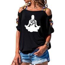 womens Short sleeve Om Aum Silhouette print T-shirt Summer Fashion clothing t shirt womens Sexy Hollow Out Shoulder shirt