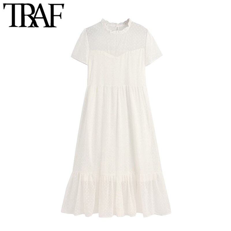TRAF Women Chic Fashion Polka Dot Chiffon Pleated Midi Dress Vintage O Neck Short Sleeve Female Dresses Vestidos Mujer