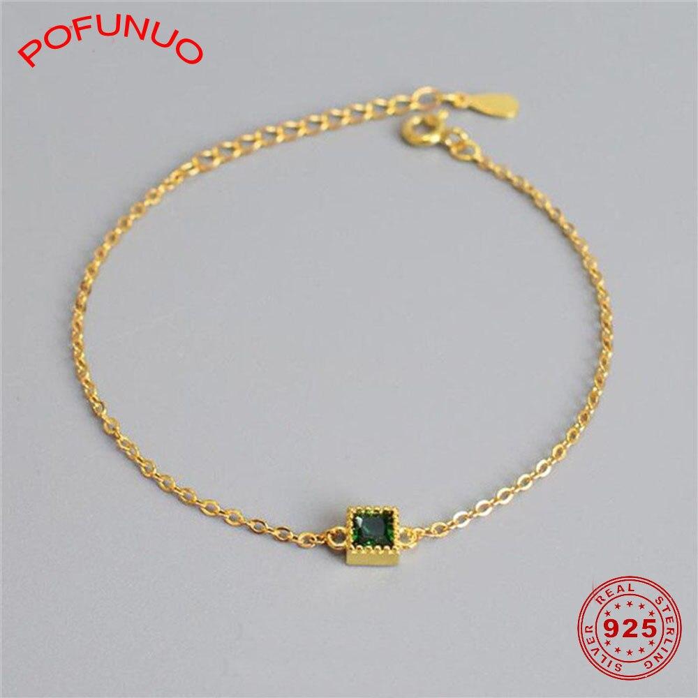 POFUNUO 925 Plata de Ley pulseras de circón verde niñas elegante Super Silm lujo amuleto cuadrado pulseras Vintage joyería Chic