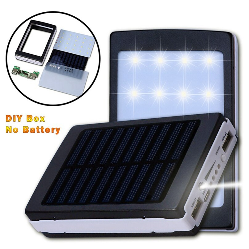 ( No Battery ) 20000mah 18650 Power Bank Solar DIY Box Poverbank Case Power Pover Bank for Samsung Huawei Moblie Phones Charger