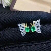 elegant lovely butterfly natural green emerald stud earrings 925 silver natural gemstone earrings women party gift fine jewelry