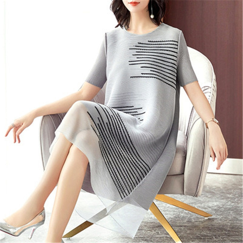 Miyake plus size women's dress 2021 spring new mid-length heavy embroidery beaded fat MM loose fashion A-line dress dress women