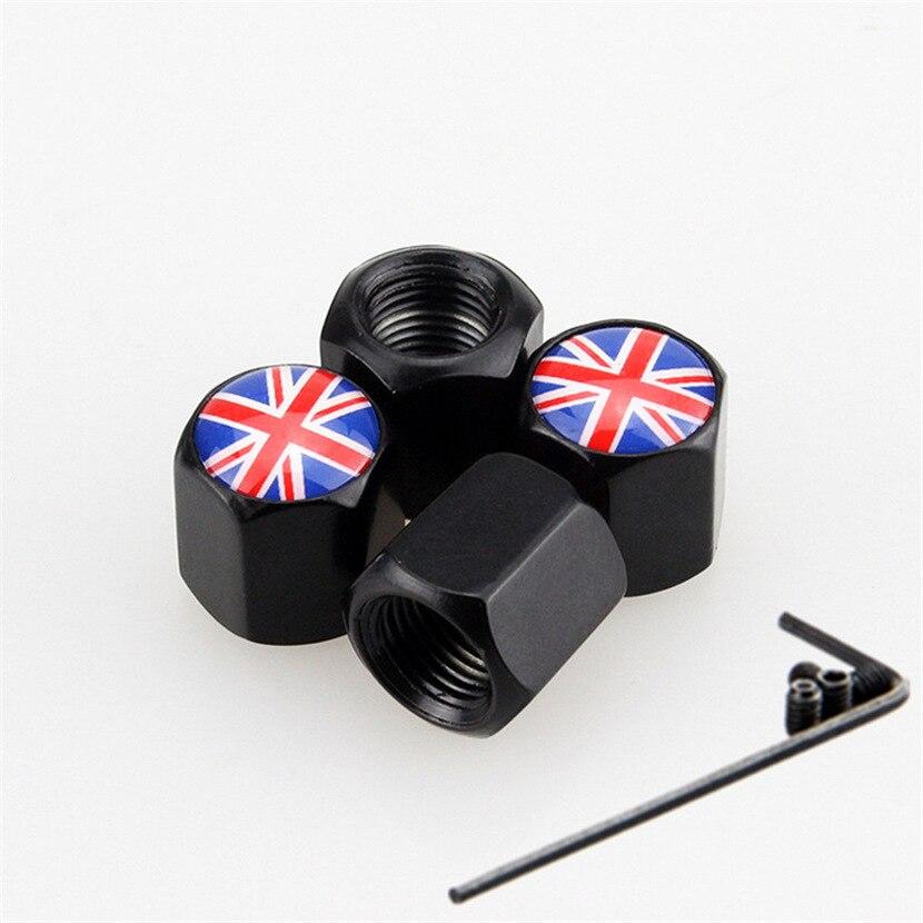 4 Uds bandera británica de Inglaterra, neumático de coche, vástago de válvula, tapones de válvula, cubiertas Rojas, tapas de polvo para rueda, accesorios de coche de acero inoxidable