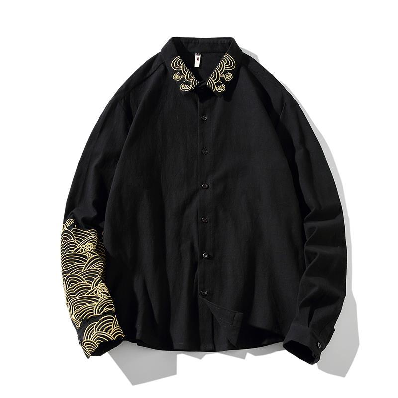 Guochao Linen Shirt Men's Chinese Style Long Sleeve Shirt Retro Chinese Embroidered Tang Dress Large Size Casual Jacket