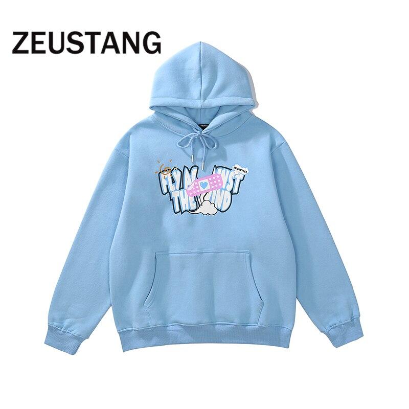 Zeustang قمصان سويت شيرت بقلنسوة مطبوعة الإبداعية الصوف هوديس Harajuku الشارع الشهير الهيب هوب موضة القطن ملابس خارجية غير رسمية