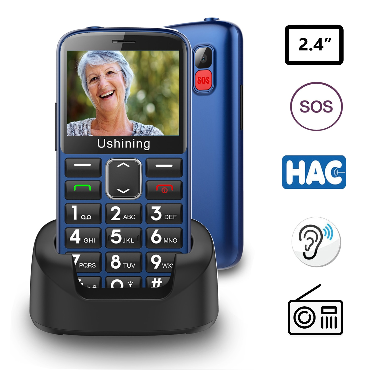 2G Big Button 1000MAH Sound Loundly Mobile Phone for Elderly Unlocked Senior With SOS Emergency  English keyboard