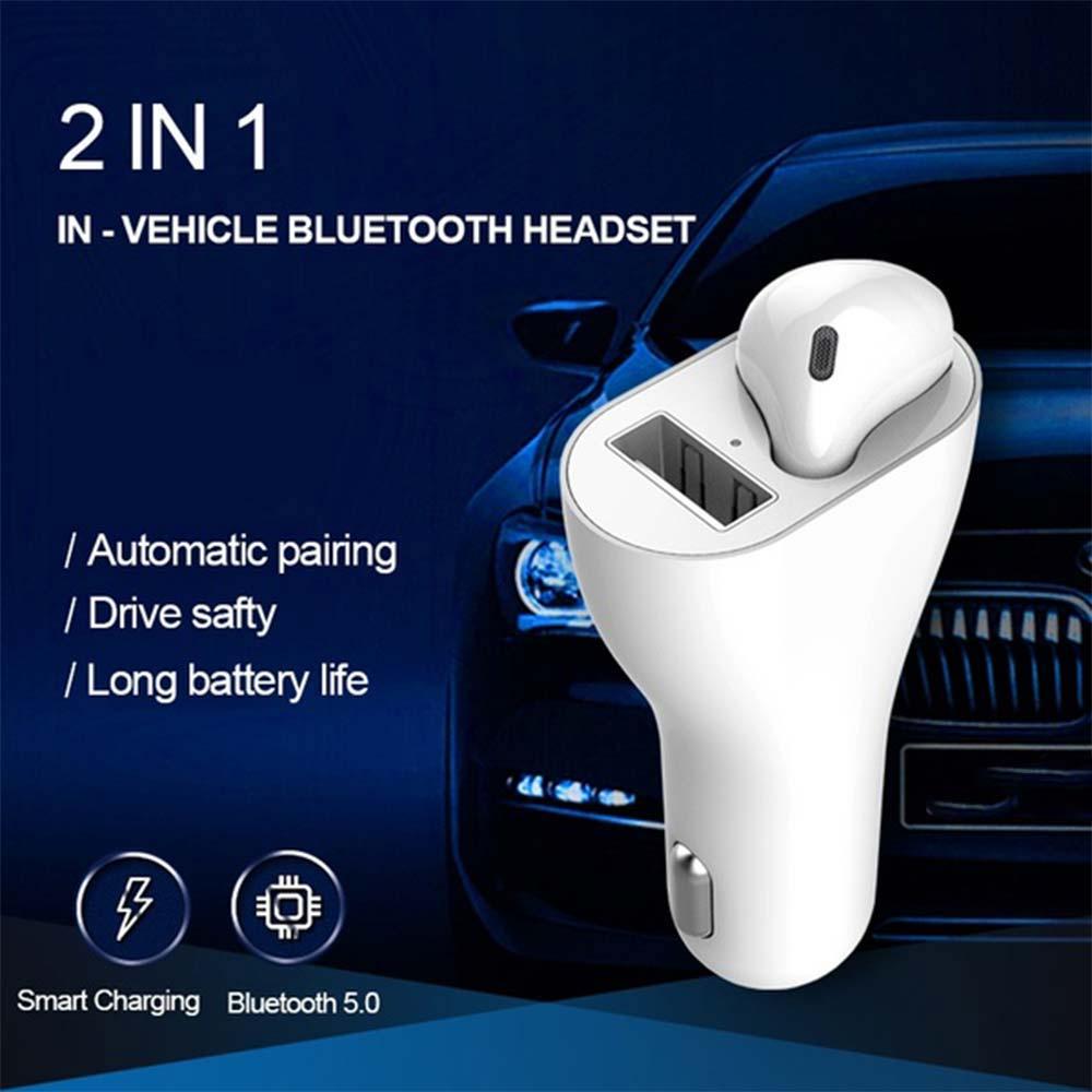 Auricular Universal Bluetooth para coche BT 5,0 cargador de sincronización automática de auriculares inalámbricos con Control táctil 2 en 1