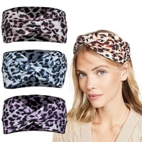 fashion women leopard print knotted cross hair band running outdoor sports elastic headbands home face wash headband party gift