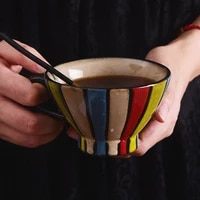 new creative multi color heat resistant coffee cup breakfast milk ceramic cup hotel restaurant water cup specialty cafe cup