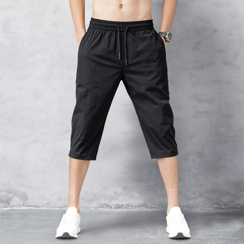 Мужские шорты, летние бриджи 2021, тонкие нейлоновые брюки длиной 3/4, мужские шорты-бермуды, быстросохнущие пляжные черные мужские длинные шор...