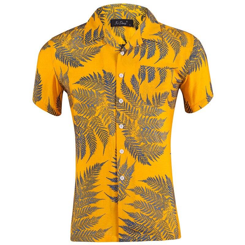 Оптовая продажа, мужская рубашка с коротким рукавом, хлопок, американский размер, свободная гавайская рубашка, мужская повседневная однобо...