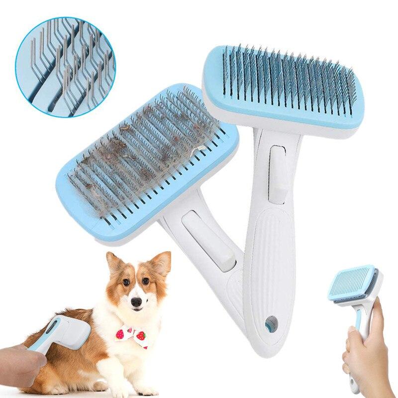 Cepillo removedor de pelo para perros, peine de limpieza automática, cepillo para gatos, recortador, peine para gatos, perros, herramientas de aseo para mascotas