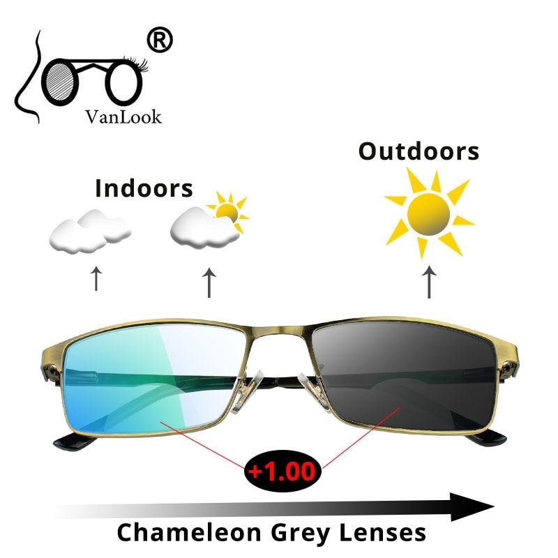 Gafas de lectura lentes bifocales camaleones fotocrómicas por ordenador Anti rayo de luz azul que bloquean las gafas de visión para hombres y mujeres + 1,5 2 2,5