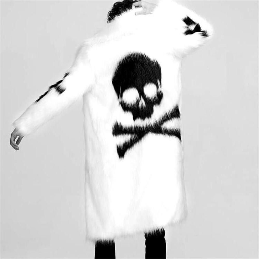 معطف فرو رجالي ، نمط جمجمة ، فضفاض ، غير رسمي ، ألوان متطابقة ، أسود وأبيض ، ملابس خارجية سميكة ، مجموعة جديدة 2021