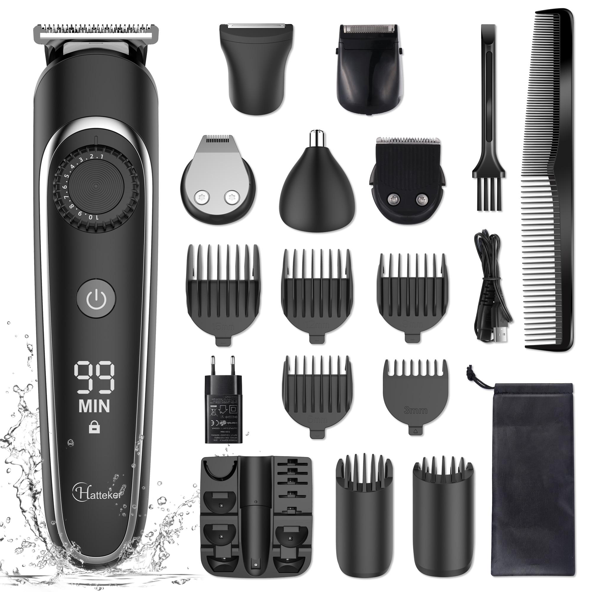 HATTEKER المهنية الشعر المتقلب 5 في 1 مقص الشعر للرجال قابلة للشحن الحلاقة الكهربائية قابل للتعديل الدقة المتقلب