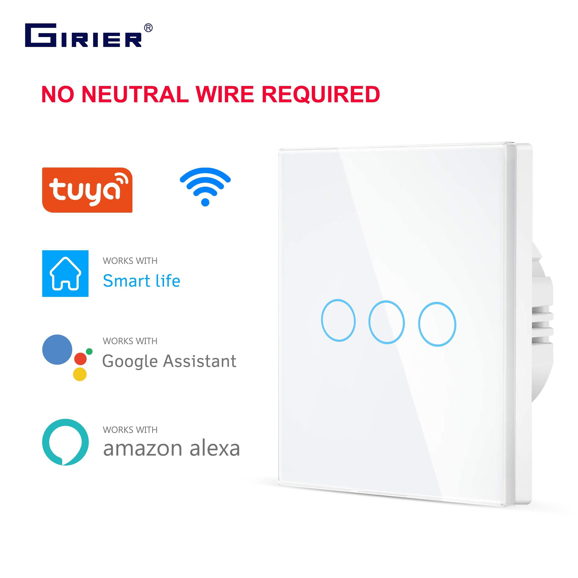 Wifi Wall Touch Switch EU No Neutral Wire Required Smart Light Switch 1 2 3 Gang 220V Tuya Smart Hom