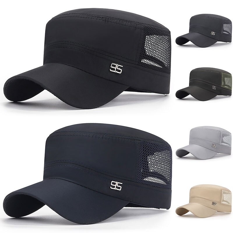 Summer Military Cap Sun Protection Flat Top Hat Mesh Breathable Casual