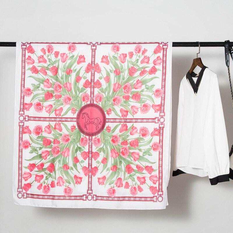 Prenda superior de seda 180x90cm, bufandas lujosas de flores rosas para mujer, Fular cuadrado, Hijab, bufanda para mujer, chal, bufanda, pareo hijab femenino