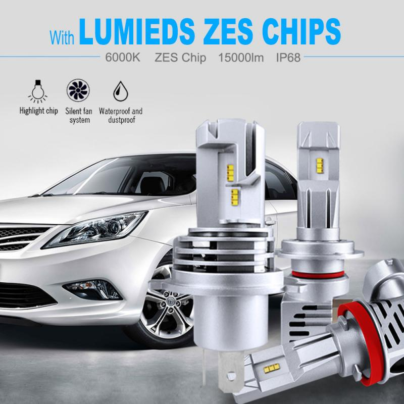 H4 LED H7 9005 9006 voiture phare ampoule 60W 12000LM Plug-n-play extrêmement lumineux 6000K ZES puce Hi/Lo faisceau IP68 voiture ampoule