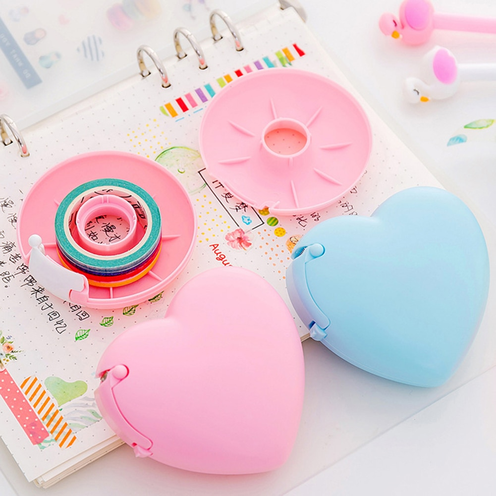 Diseño de corazón de amor/forma de Donut Washi cinta cortador lindo Color caramelo cortador de cinta adhesiva Oficina dispensador de cinta suministro escolar