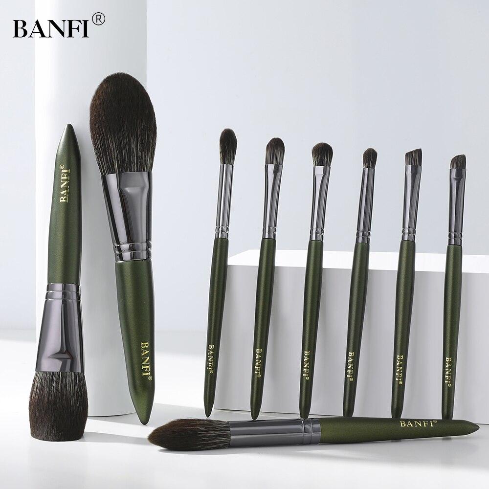 BANFI 9pcs Avocado Green Professional Makeup Brush Set Eyebrow Powder Foundation Eyeshadow Brush Cosmetic Tools shadow brush