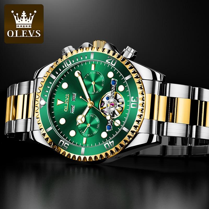 OLEVS Top Brand Fashion Green Automatic Mechanical Watch Men's Stainless Steel Multifunctional Luminous Waterproof Watch 6605 enlarge