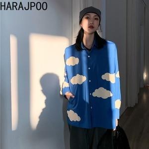 HARAJPOO Woman Shirts 2021 New Spring Ins Fashion Harajuku Cloud Embroidery Loose Oversize Long Sleeve Versatile Female Top Tide