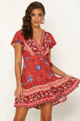 Mujer verano Boho corto Mini vestido de noche cóctel fiesta playa vestido de verano K